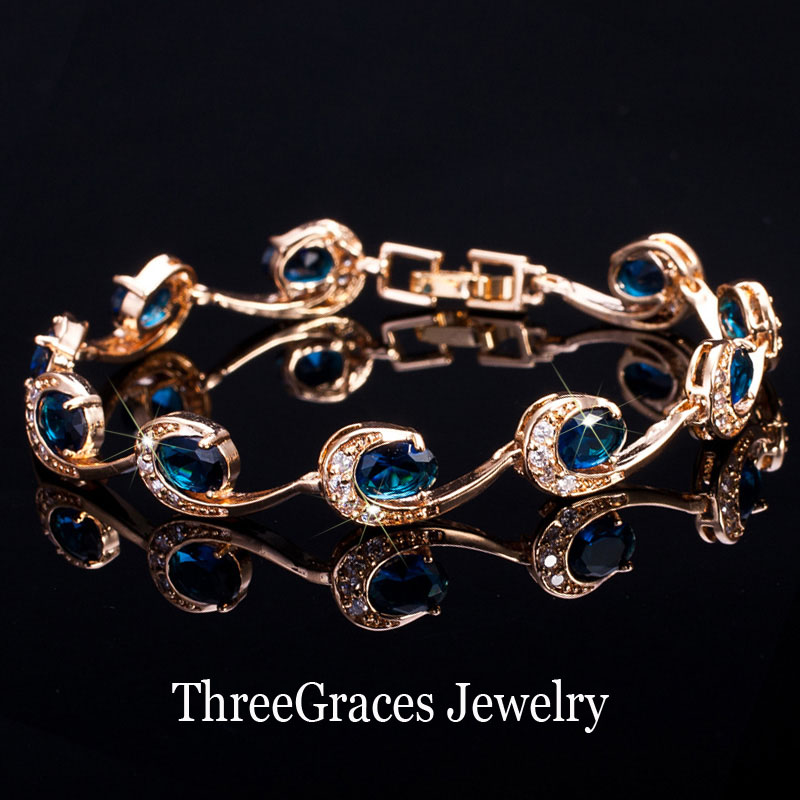Prix pour 2017 Nouveau Dames De Mode Accessoires Or Couleur Femmes Marine Bleu Cristal Chaîne Bracelets Bracelets Avec Zircon Pierre BR064