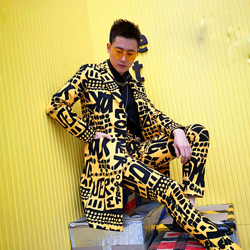 Men Long Casual Slim Fit Suits Sets 2PCS (jacket+pant) Male Slim Fit Blazer Yellow Suit Jacket Nightclub Stage Singer DJ Clothes