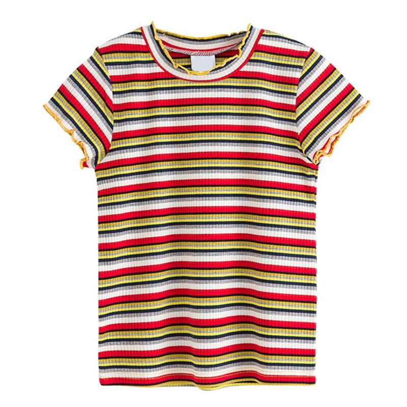 T-Shirt Children Teenager 6-To-16-Years Clothing Girls Striped Kids Cotton Fashion Summer