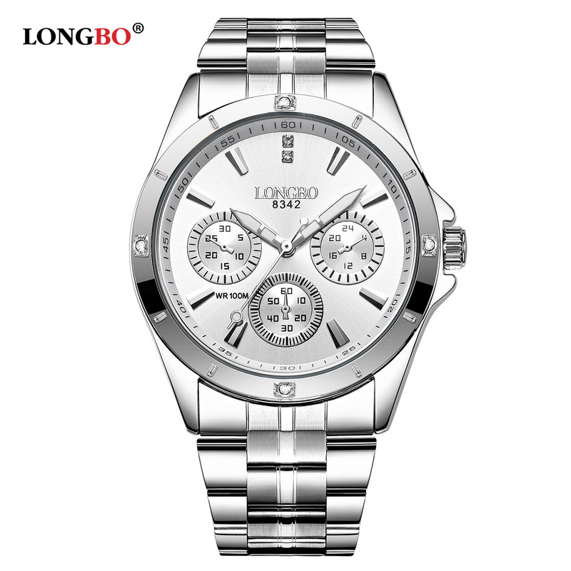 Longbo Top Brand Sports Military Unique Design Couple Stainless Steel Band Quartz Watch Men Male Leisure Watch Relogio Masculino