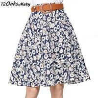 12 OAKS OF KATY Europe And America Women Fashion Elastic Waist Without Belt A Line Skirt