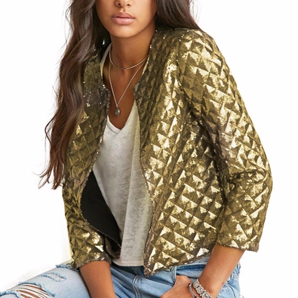 Summer Autumn Women Matchable Sparkly Blazer Women Gold Sequins Blazer Jackets Three Quater Sleeve Coats Outwears S-2XL Blazer