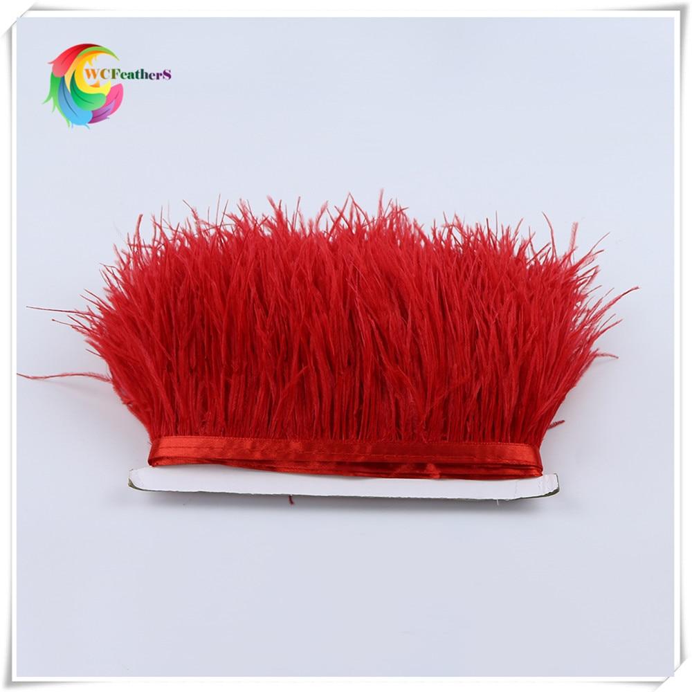 1 метр 32 цвета обрезки из натуральных перьев страуса высота 8-10 см Перья ленты для DIY свадьба на праздник, украшение для платья Ремесло - Цвет: O3 Red
