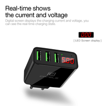 CAFELE LED display 3 USB travel EU US charger max 5V 3A Smart Fast charging Universal Travel charger for iphone Huawei Samsung