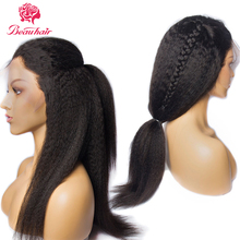 Beau hair kinky straight Human Hair Wigs With Baby Hair Malaysia Non-Remy 13*4 Lace Frontal Wigs Pre-Plucked 150% Density wigs