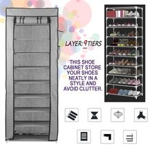 10 Layer 9 Grid Shoes Cabinet Simple Shoe Rack With Cover Multifunctional Shoes Storage Organizer Large Capacity Home Furniture