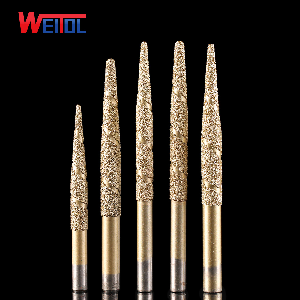 Weitol free shipping Brazing stone engraving bits marble carving tools CNC router bits CNC router machine milling cutter pcd cnc carving tools diamond router bits stone marble granite tombstone cutting engraving bits shk 6mm angle 70 deg tip 0 4mm