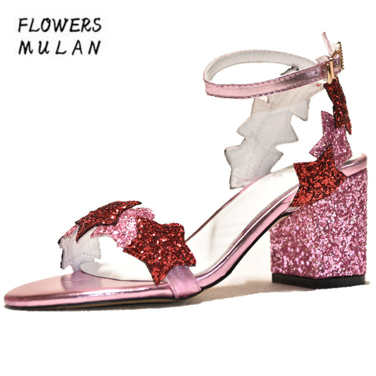 Bling Sequined Leather Women Sandals Shoes Summer Peep Toe One MIxed Color Star Buckle Lady Chunky Heel High Heels Shoes Woman crystal chunky heel sandals women summer t word buckle sweet rhinestone heel ladies sandals peep toe med heel woman shoes