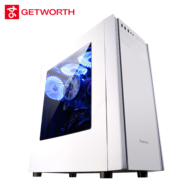 GETWORTH S4 Intel I3 8100 3.6GHz Office Gaming PC Desktop Computer 1TB HDD 4GB RAM Office Home Desktop With 3 fre Fans White getworth s2 gaming desktop pc computer for pubg intel i5 8400 gtx 1050ti 4gb b360 motherboard 8gb ram 180gb ssd 5 colorful fans