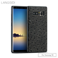 wangcangli brand phone case ostrich grain full wrapped phone case For Samsung S8 phone case All handmade custom processing