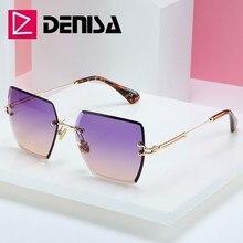 DENISA Square Rimless Sunglasses Women 2019 Summer Red Glass