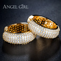Angel Girl  Round Loop with High Quality Tiny AAA+ CZ  Hoop Earrings  Hot Jewelry  for women  Statement Earring gold plated