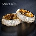 Angel girl ronda loop con tiny aaa + cz pendientes del aro de la joyería caliente de alta calidad para las mujeres declaración pendiente de oro