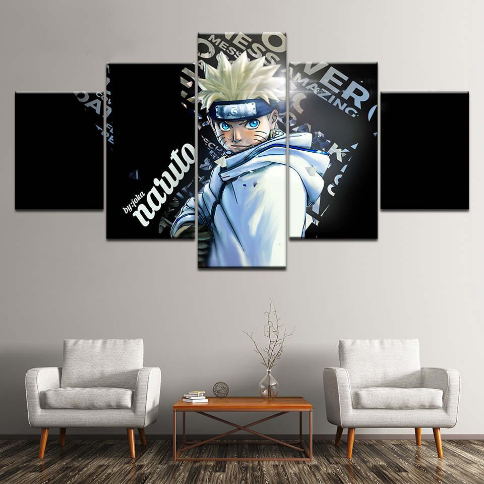 Modular Hd Printed Pictures Home Decor 5 Pcs Anime Naruto Character Painting Canvas Poster Wall Art For Living Room Frame in Painting Calligraphy from Home Garden