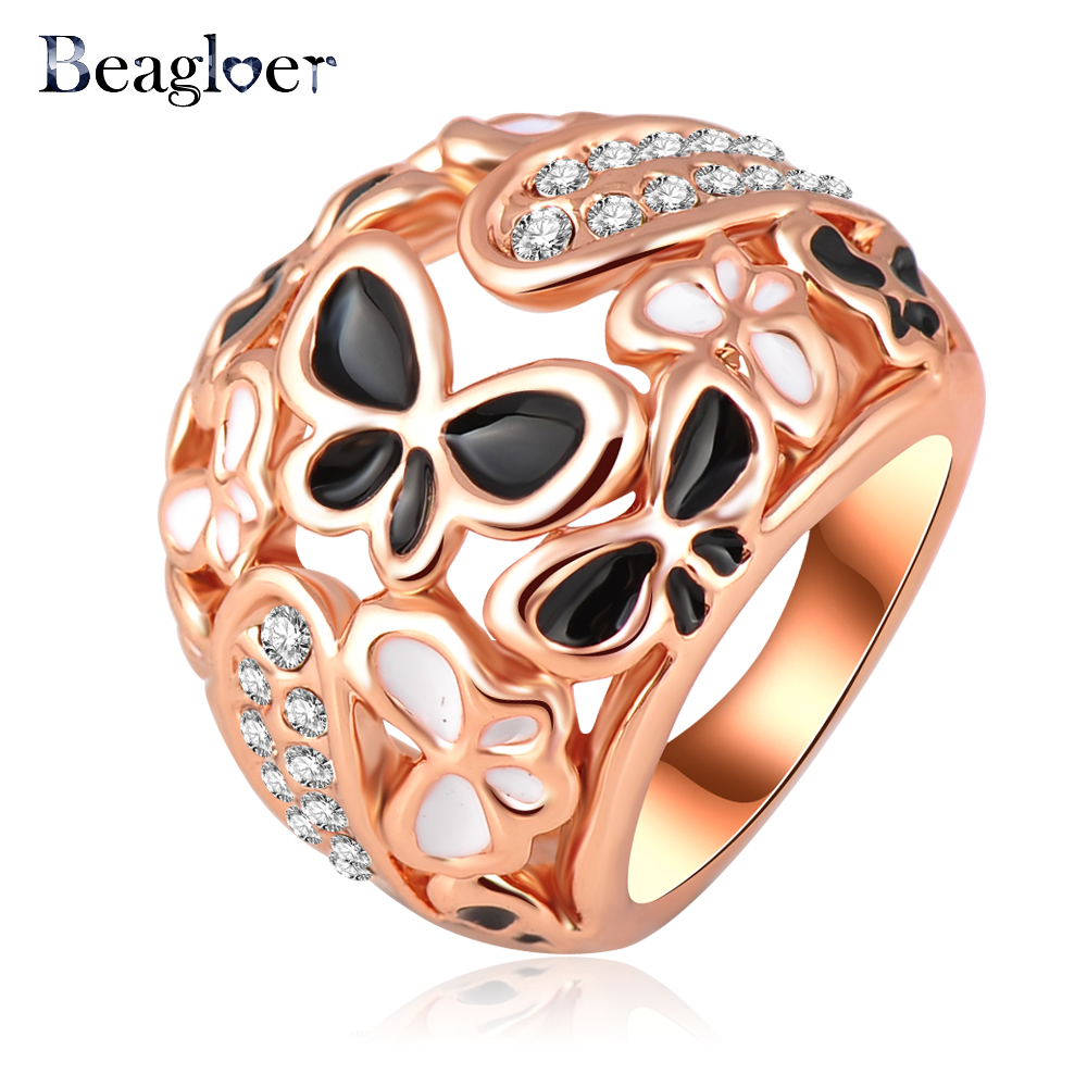 Beagloer Big Ring Costume Jewelry Rose Gold Plating Beautiful Enamel  Butterfly Rings Micro Pave Austrian Crystals Ri HQ0210 In Rings From Jewelry  ...
