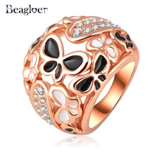 Beagloer Big Ring Costume Jewelry Rose Gold Plating Beautiful Enamel Butterfly Rings Micro Pave Austrian Crystals Ri-HQ0210