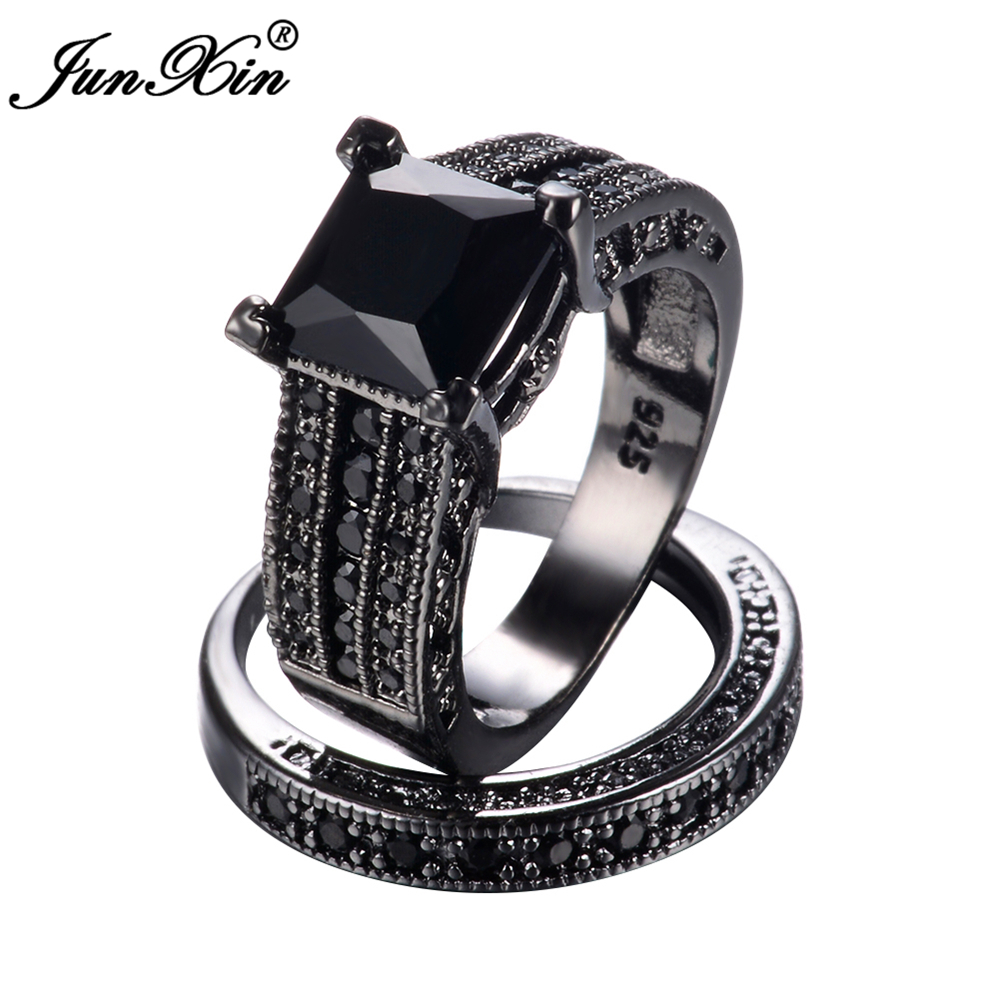 Junxin male female black gold ring set 925 sterling silver for Wedding rings silver and gold