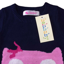 Belababy Brands Baby Girls Sweaters Winter 2017 New Girl Long Sleeve Knitted Clothes Kids Autumn Cartoon Owl Sweater For Girls