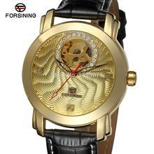 FSG009M3G1 Forsining новый Автоматическая мужские наручные часы с черным кожаный ремешок подарочной коробке бесплатная доставка