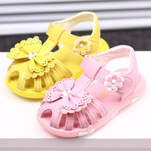 2017 New Arrival Summer Cool Baby Girls Sandals Shoes Skidproof Toddlers Infant Children Kids Flower Shoes PU Leather