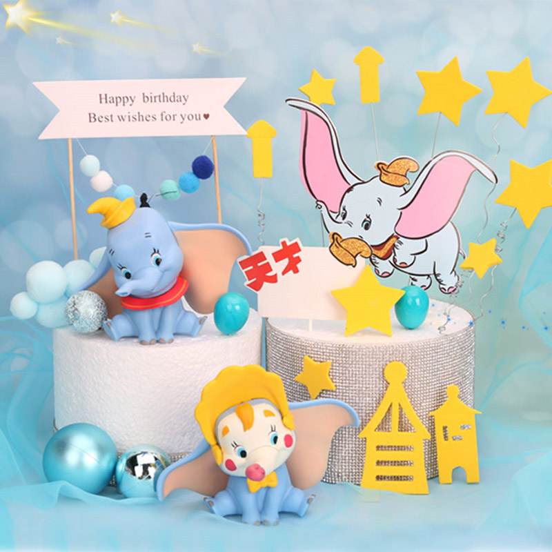 10cm Cute Dumbo Elephant Figure Fly Elephant Cake Decoration Could Christman Ball Cake Topper For Kids Birthday Wedding Decor