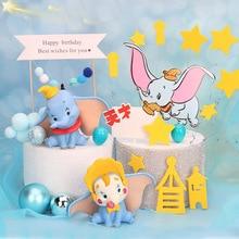 10cm Cute Elephant figure Fly Elephant Cake decoration Could Christman ball cake topper for kids birthday wedding decor