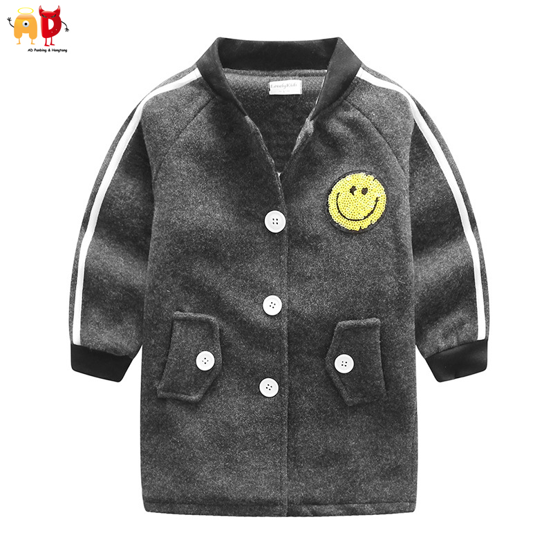 AD Long Fashion Boys Woolen Coat for Autumn Winter Girls Trench for Spring Children's Outwear Kids Stylish Long Coat sheepskin coat ad milano sheepskin coat