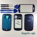 Azul caso de telefone celular de substituição integral da habitação case capa + tela de vidro da lente + ferramentas + botões para samsung galaxy s3 mini i8190