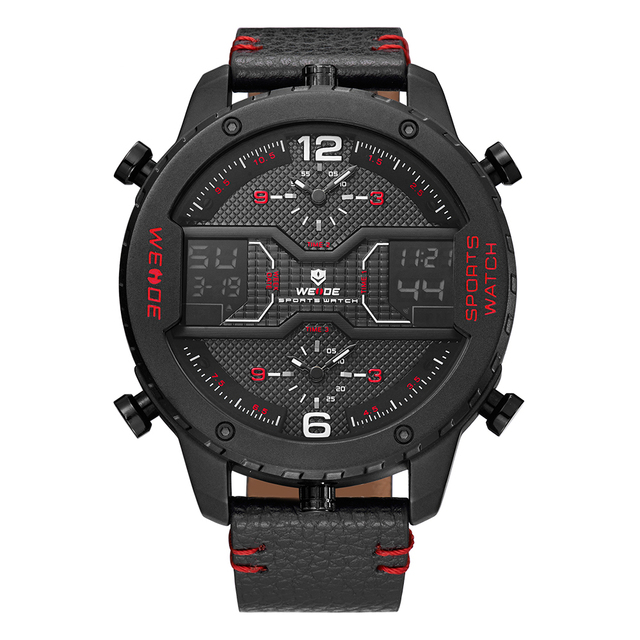 WEIDE Military Mens Three Time Zone Analog LCD Display Sport Digital Calendar Date Day Quartz Leather Strap Buckle Wristwatches