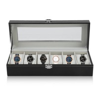 6 Grid Fashion Casket Watch Winder Boxes PU Leather Storage Watch Case Classical Gift Jewelry Display