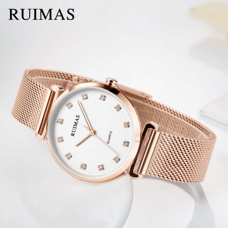 RUIMAS Quartz Women Bracelet Watch Relogio Feminino Top Brand Luxury Ladies Watches Clock Stainless Steel Girl Lovers Wristwatch julius quartz watch ladies bracelet watches relogio feminino erkek kol saati dress stainless steel alloy silver black blue pink