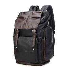 купить Fashion Contrast Color Backpack Large Capacity Trendy Belt Buckle Casual School Bag Men Waterproof Outdoors Travel Backpack дешево