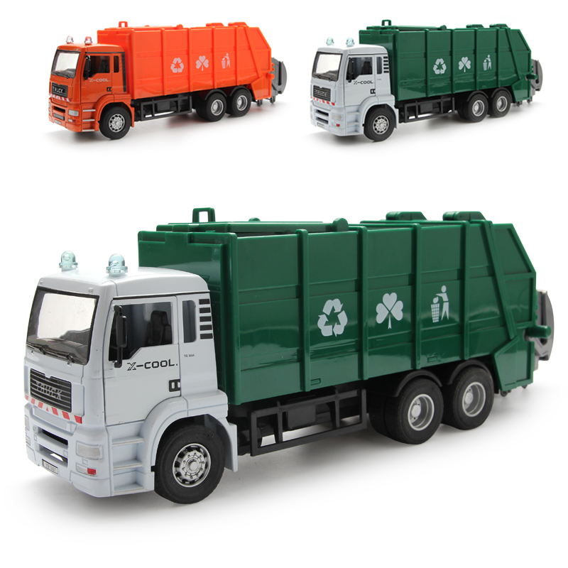 Big Large Garbage Truck Toys 1 32 Alloy Inertia Glide