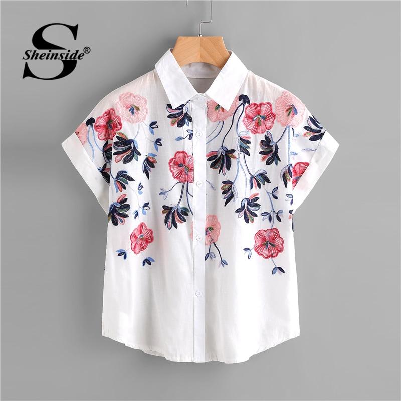 Sheinside белый цветочный вышивка рубашка Для женщин закатать рукава топ на пуговицах 2018 летние шорты рукавом Офис Повседневная обувь Элегантн...