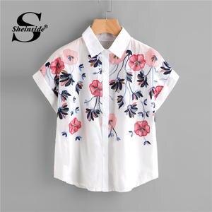 01052a0647 Sheinside Shirt Women Top 2018 Summer Short Sleeve Blouse