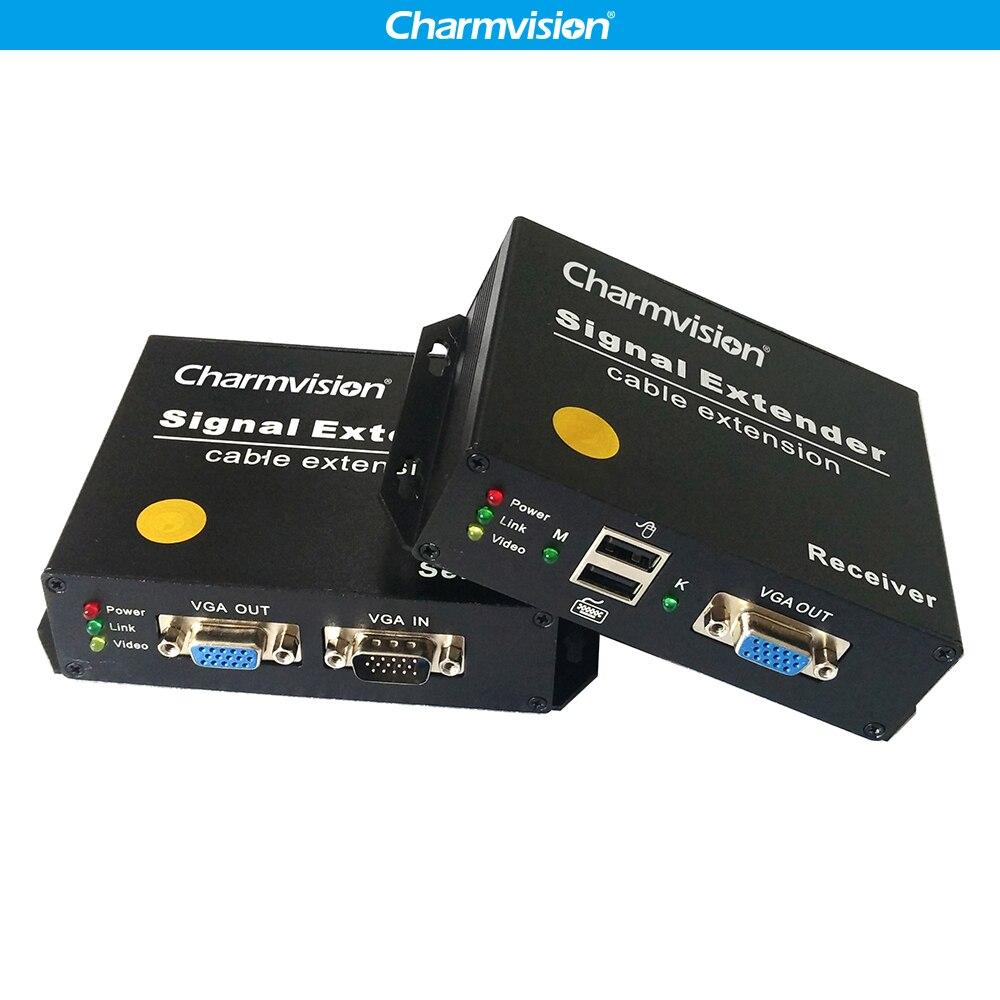 Charmvision EKU200HR 200 m USB Clavier souris VGA KVM Extender via unique RJ45 STP UTP cat5E câble 2 USB UN pour CCTV Gestion