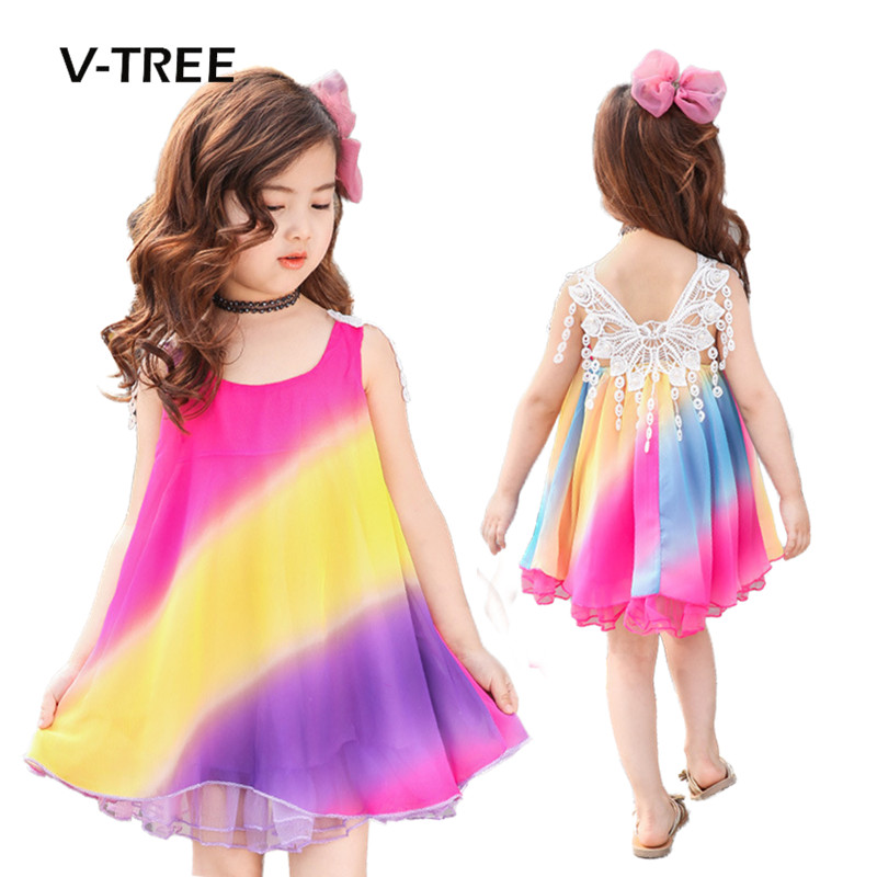 V-TREE Summer Baby Girls Princess Dress Rainbow Style Lace Dress For Girl Kids Party Performance Dress Baby Children Clothes ems dhl free shipping toddler little girl s 2017 princess ruffles layers sleeveless lace dress summer style suspender