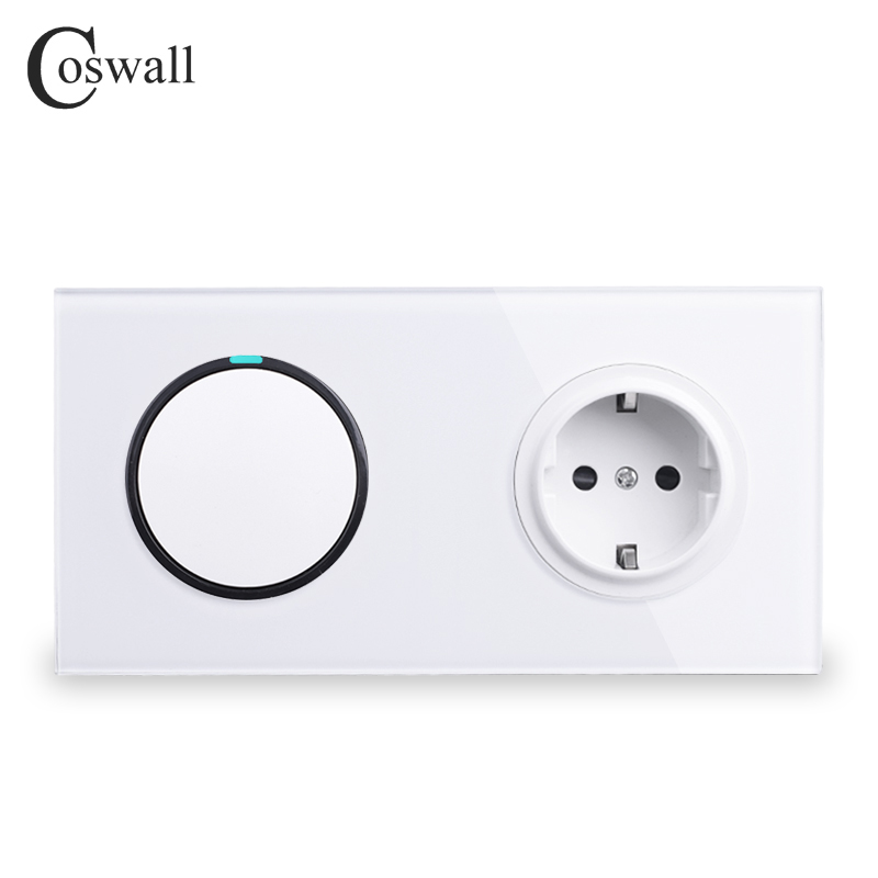 Coswall White Crystal Glass Panel 16A EU Standard Wall Power Socket 1 Gang 2 Way Pass Through Push Button Light Switch mvava push button light wall switch 3 gang 1 way 16a 250v luxury white crystal glass panel factory direct sale free shipping