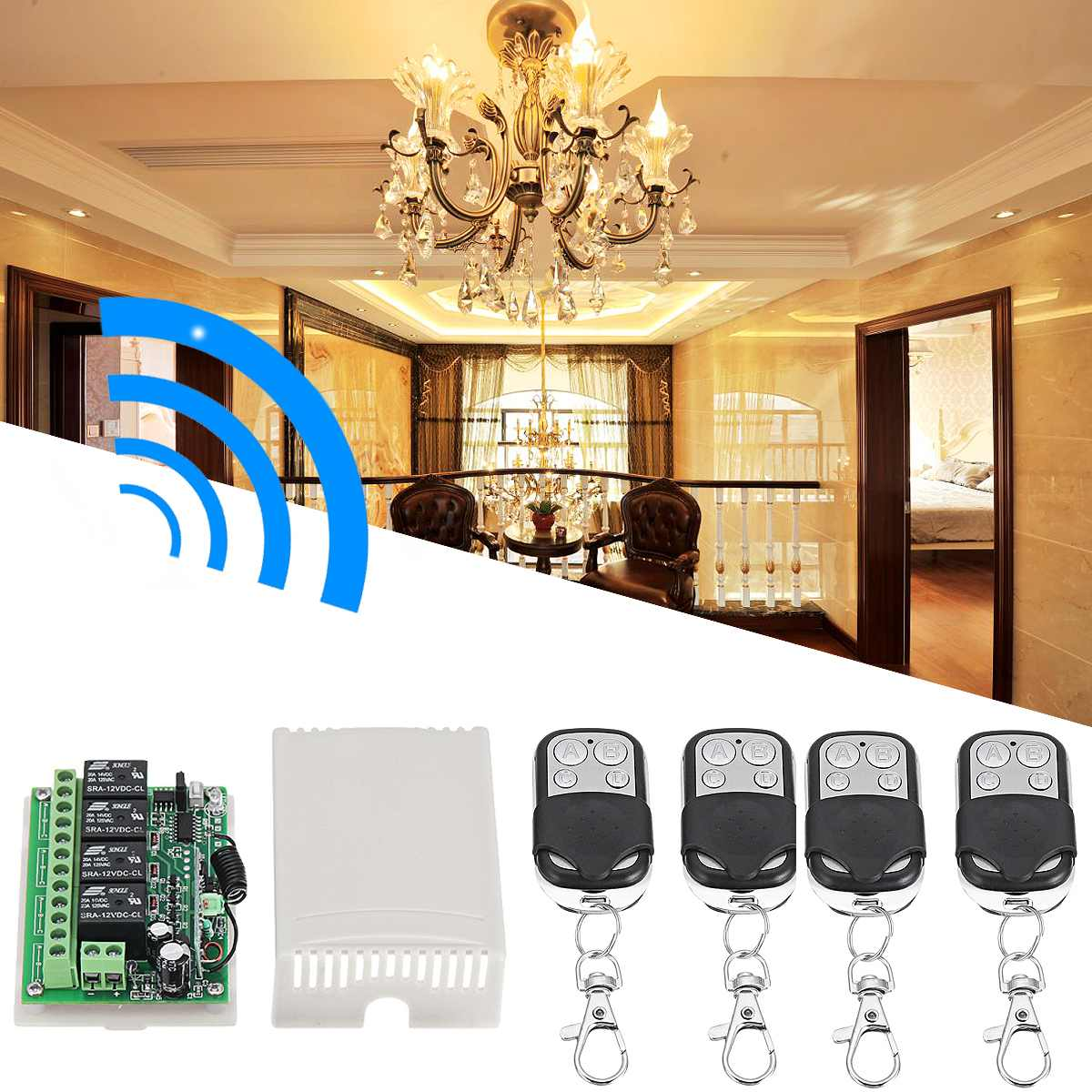 Mini Wireless RF Remote Control Light Switch  Relay Output Radio DC 12V 4CH Channel 433MHz Receiver Module +TransmitterMini Wireless RF Remote Control Light Switch  Relay Output Radio DC 12V 4CH Channel 433MHz Receiver Module +Transmitter