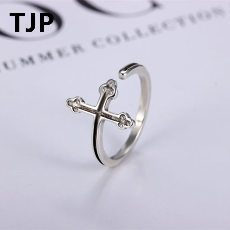 TJP Vintage Plum Cross Female Finger Accessories Adjustable Top Quality 9205 Sterling Silver Rings For Women Engagement Party
