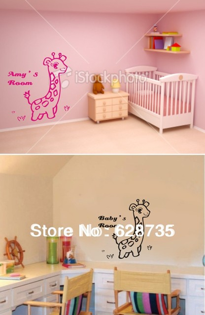 Free Shipping Custom Personalized Name Wall Stickers Nursery Decor, Cute  Giraffe Customized Name Wall Decals Part 87