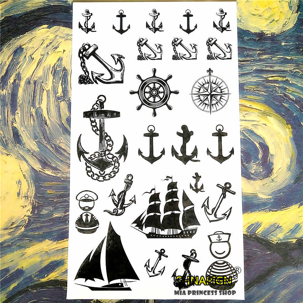 SHNAPIGN Marine Piraten Anker Temporäre Tätowierung Körperkunst Arm Flash Tattoo Aufkleber 17*10 cm Wasserdichte Gefälschte Henna Schmerzlos aufkleber