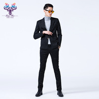 Nightclub new Men blazer Hair Stylist fashion slim Flash drilling suit performance Suits male plus size singer stage costumes