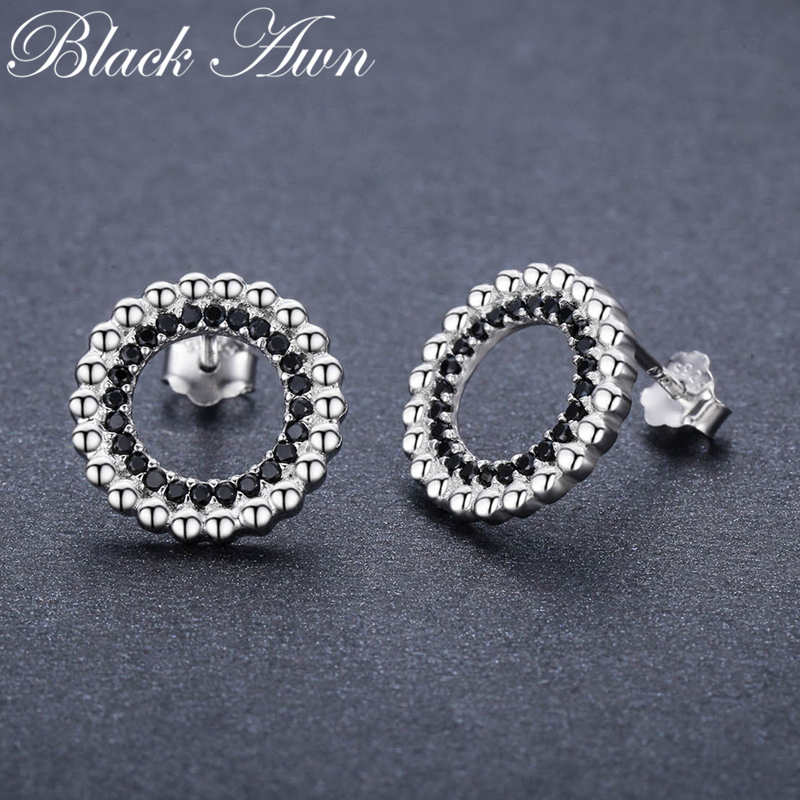Classic 2.5g 925 Sterling Silver Natural Black Spinel Engagement Stud Earrings For Women Fine Jewelry T202