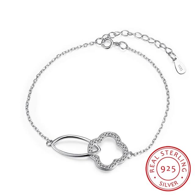 Robira Adjustable Silver Bracelets 925 Sterling Silver Fine Jewelry Women's Fashion Clover Charms Handcuffs Bangle and Bracelet
