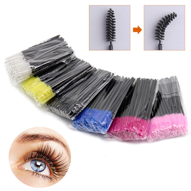 SinSo 50pcs Colorful Disposable Eyelash Applicator Wands Curler Brush Set Mascara Eyebrow Spoolers Comb Wands Spoolies Brushes 2