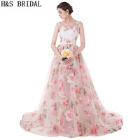 H S BRIDAL Sweetheart Printed Fabric Prom Dresses Long Lace Applique Pearls Princess Evening Dresses Sheer
