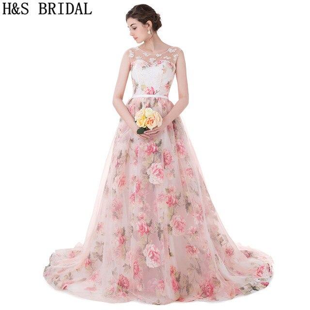 bc9b552acec H S BRIDAL Sweetheart prom dresses Sheer Straps Floral Print long Lace  Applique Pearls Princess Evening Dresses vestido longo