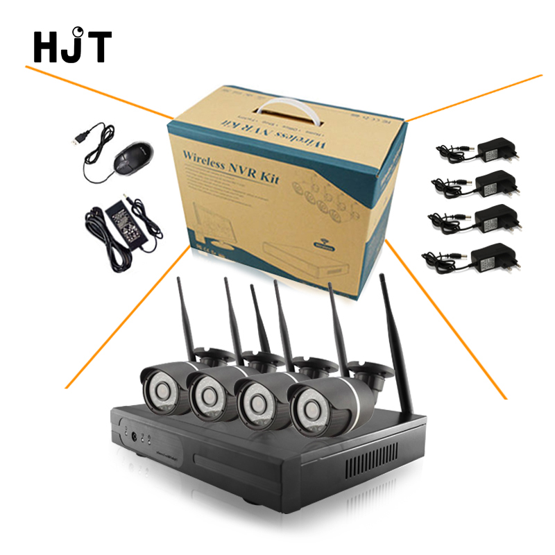 New Wireless wifi 4ch NVR with 4ch 960p 1 3mp Wireless IP bullet Camera black Metal