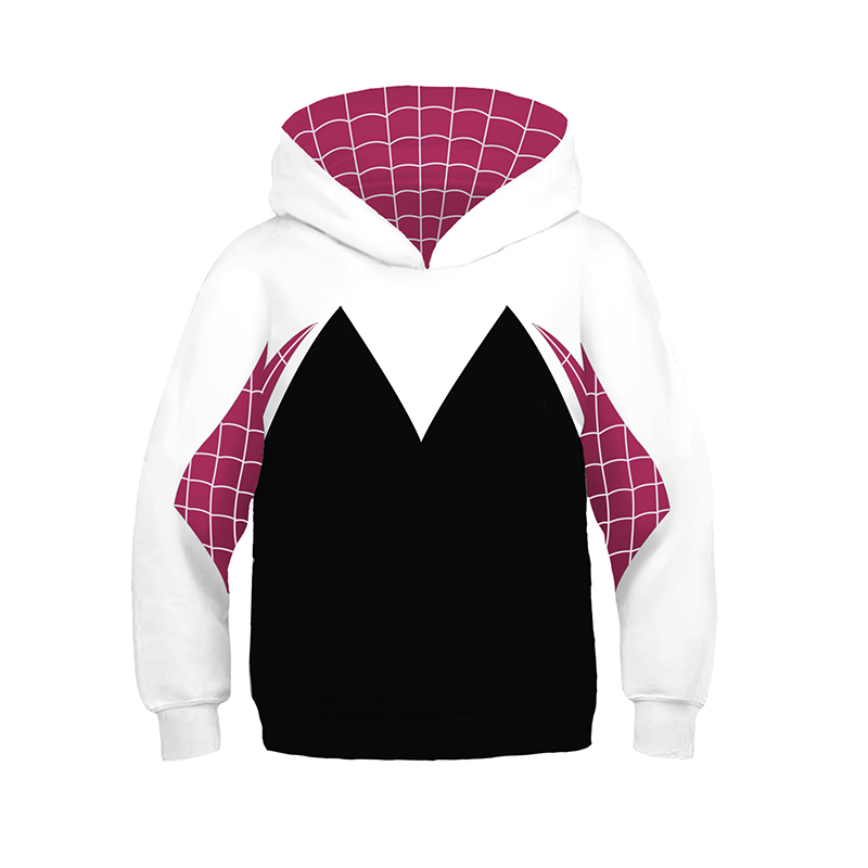 Kids Girls Boys Spider Gwen Stacy Cosplay Costumes Hoodie 3D Spider Verse Mile Sweatshirts Fashion Pullover Tops Clothing